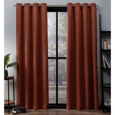 Oxford 52 in. W x 84 in. L Woven Blackout Grommet Top Curtain Panel in Mecca Orange (2 Panels)