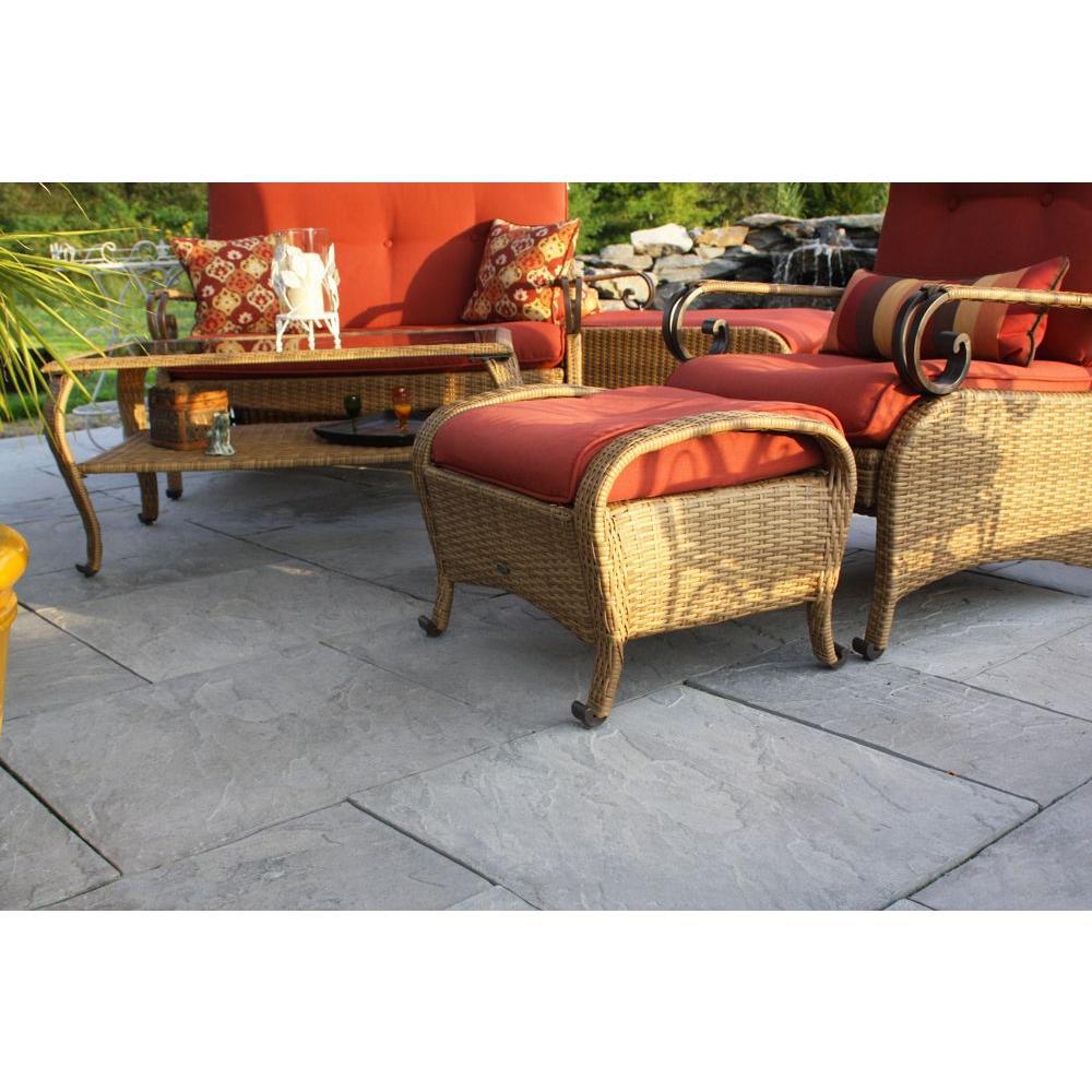 Patio-on-a-Pallet 10 ft. x 10 ft. Concrete Gray Basket weave Yorkstone Paver (37 Pieces/100 Sq. Ft)
