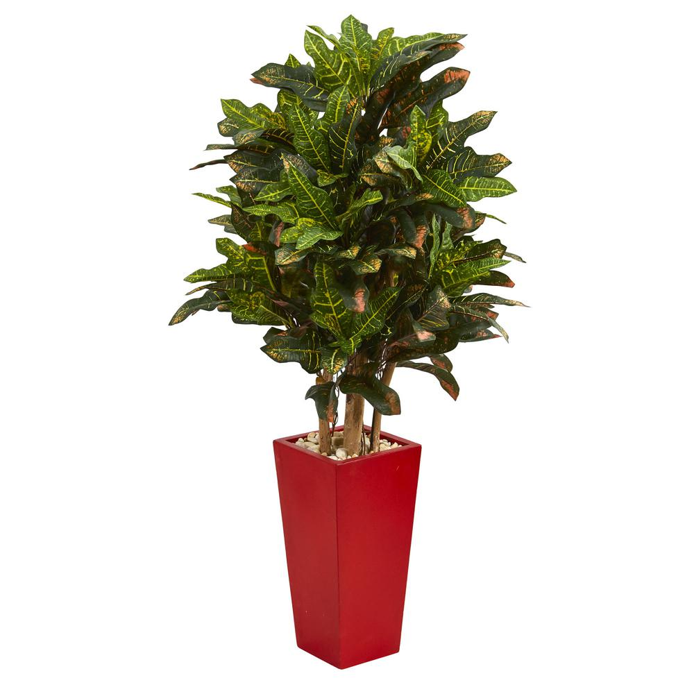 4 ft. Indoor Croton Artificial Plant in Red Planter