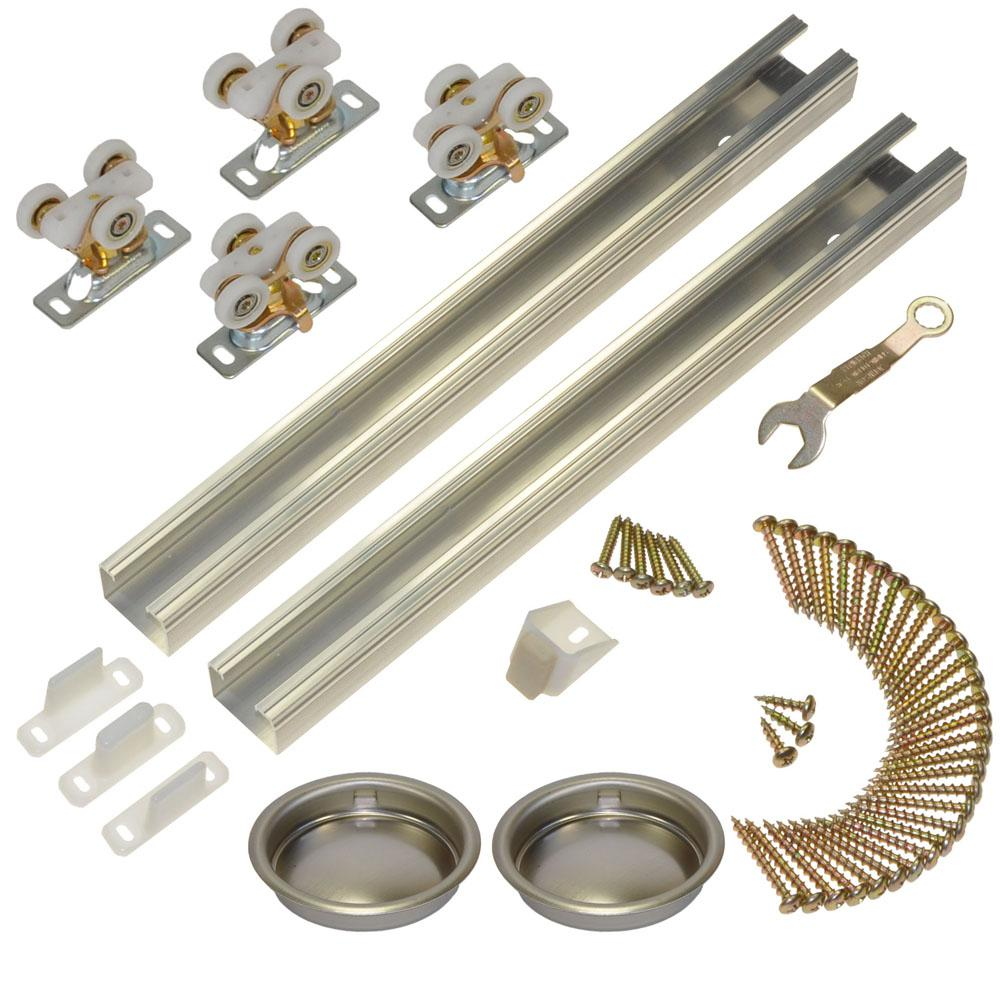 Johnson Hardware 111SD Series 96 in. Track and Hardware Set for 2-Door Bypass Doors