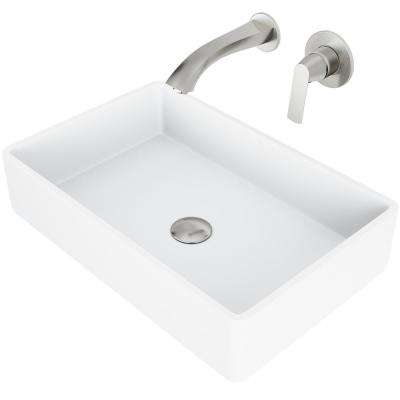 Magnolia Matte Stone Vessel Bathroom Sink Set with Aldous Wall Mount Faucet in Brushed Nickel