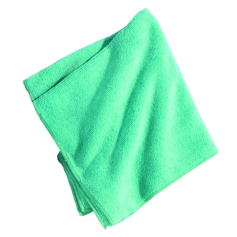 16 in. x 16 in. Microfiber Terry Cleaning Cloth in Green