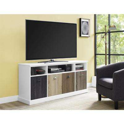 Mercer White and Multi Color Entertainment Center