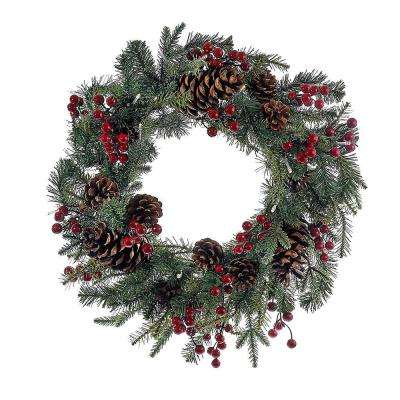 Kurt Adler 24 in. Battery-Operated Red Berry Pinecone LED Wreath
