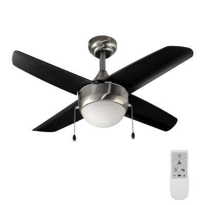 Spindleton 36 in. Brushed Nickel Ceiling Fan with Light Kit works with Google Assistant and Alexa