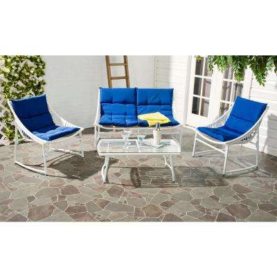 Berkane 4-Piece Patio Seating Set with Navy Cushions
