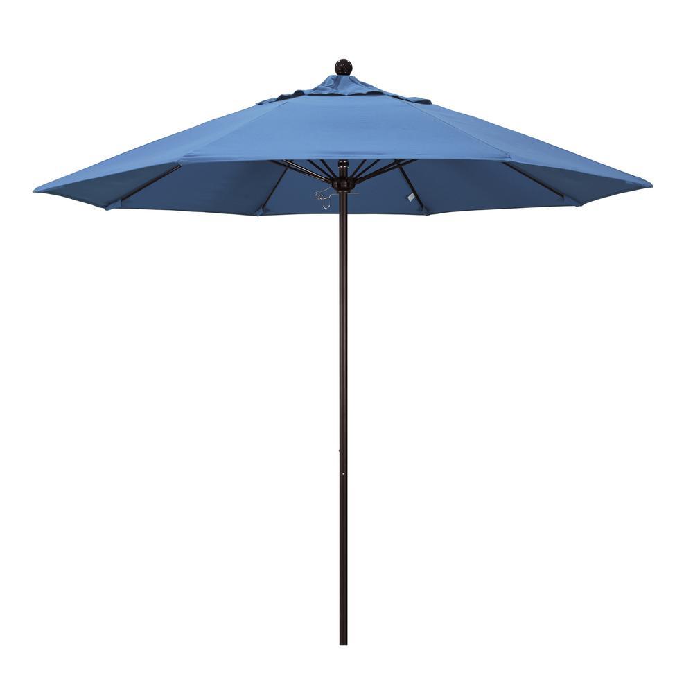 9 ft. Fiberglass Market Pulley Open Bronze Patio Umbrella in Frost Blue Olefin