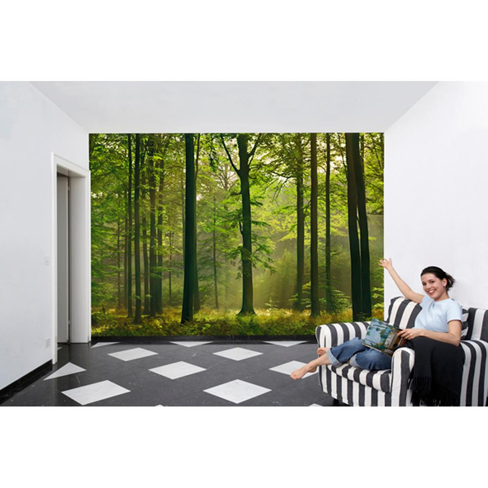 Ideal Decor 100 in x 144 in Autumn Forest Wall Mural DM216 The