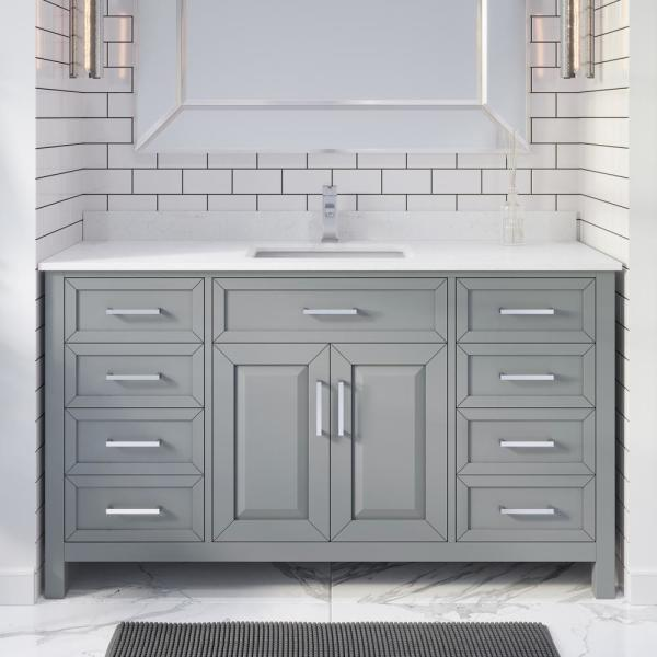 ART BATHE Terrence 60 In. W X 22 In. D Bath Vanity In Gray ENGRD Stone  Vanity Top In White With White Basin Power Bar-Organizer-TO60OG - The Home  Depot