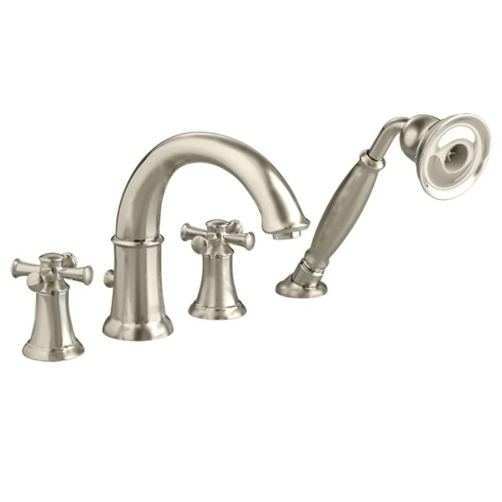 replace roman tub faucet. Portsmouth 2 Handle Deck Mount Roman Tub Faucet With Personal Shower  Cross MOEN Banbury High Arc