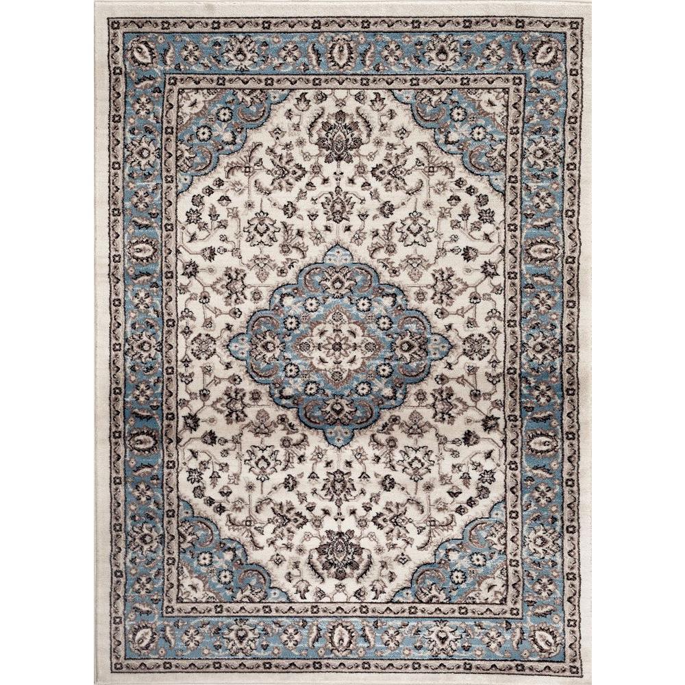 Traditional Oriental Medallion Design Blue 5 ft. x 7 ft. Indoor Area Rug
