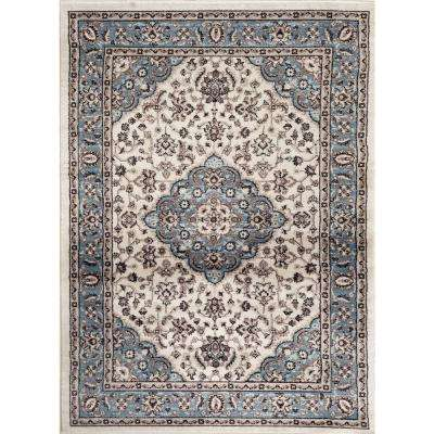 Traditional Oriental Medallion Design Blue 7 ft. 10 in. x 10 ft. 2 in. Indoor Area Rug
