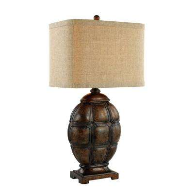 Hardwiredplug in table lamps lamps the home depot weathered copper tortoise shell table lamp keyboard keysfo Choice Image