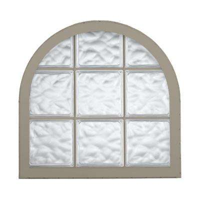 42 in. x 50 in. Acrylic Block Round Top Vinyl Window - Driftwood