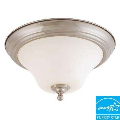 2-Light Flush Brushed Nickel Dome Light