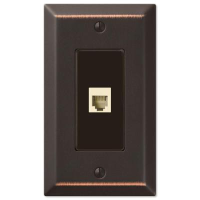 Metallic 1 Gang Phone Steel Wall Plate - Aged Bronze