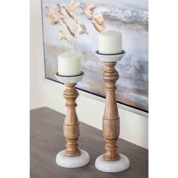 New Traditional Stained Wood and Marble Candle Holders (Set of 2)