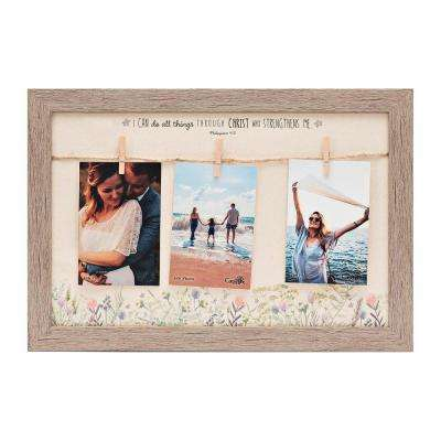 "Homespun Collection Holds 3, 4 in by 6 in Photos Barnwood Looking Frame ""All Things Through Christ"" Hanging Photo Frame"