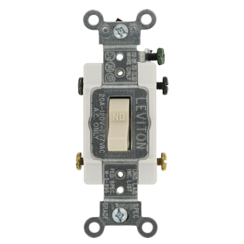 Leviton 20 Amp Commercial Grade Double-Pole Toggle Switch, Light ...
