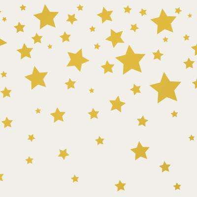 Kids Falling Stars Grey and Metallic Gold Self-Adhesive Removable Borders and Stripes