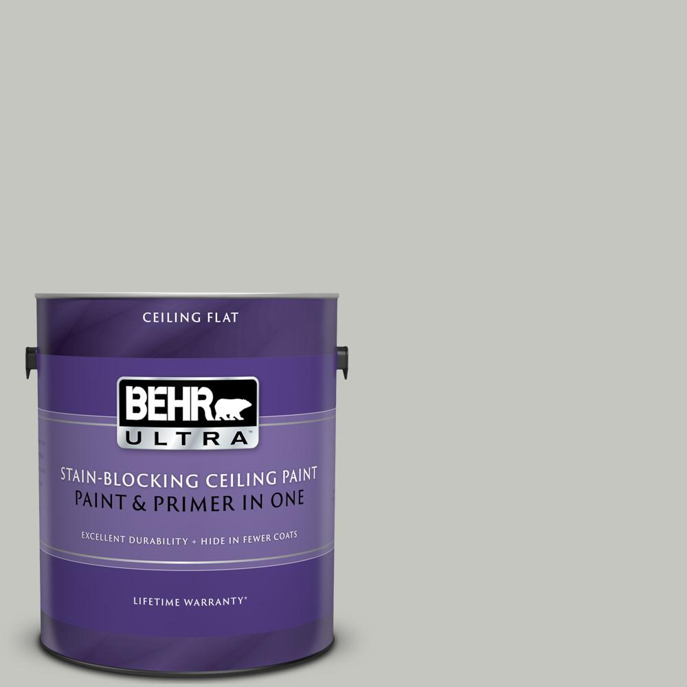 BEHR ULTRA 1 gal. #UL260-16 Silver Sateen Ceiling Flat Interior Paint and Primer in One
