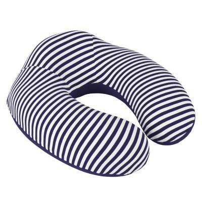 Navy Stripe Memory Foam Extra Support Neck Travel Pillow