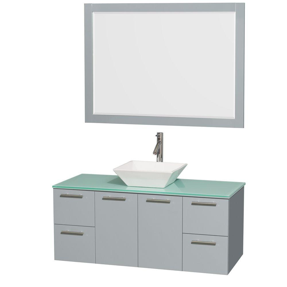 Wyndham Amare 48 in. W x 21.75 in. D Vanity in Dove Gray ...