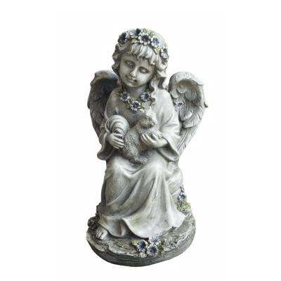 Angel Child Holding Squirrel Statue