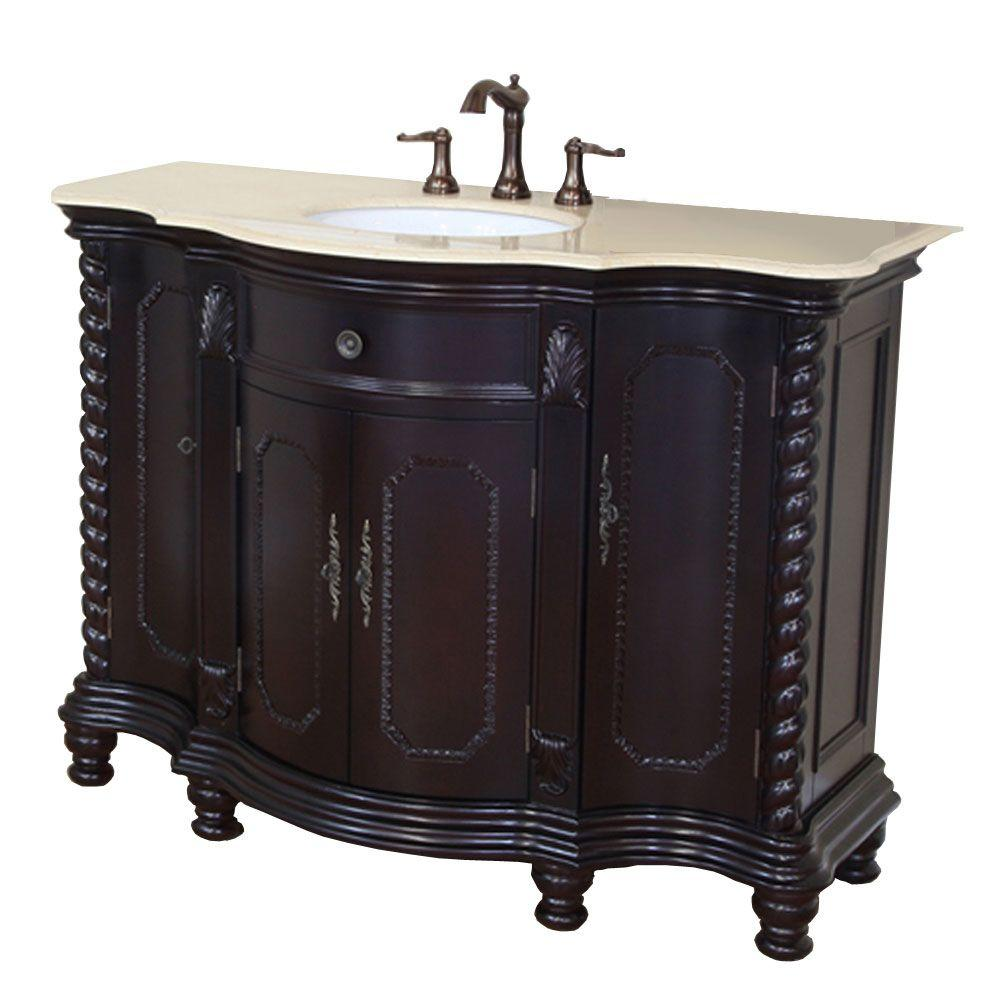 Bellaterra Home Dublin CM 48 in. Single Vanity in Dark Mahogany with Marble Vanity Top in Crema Marfil