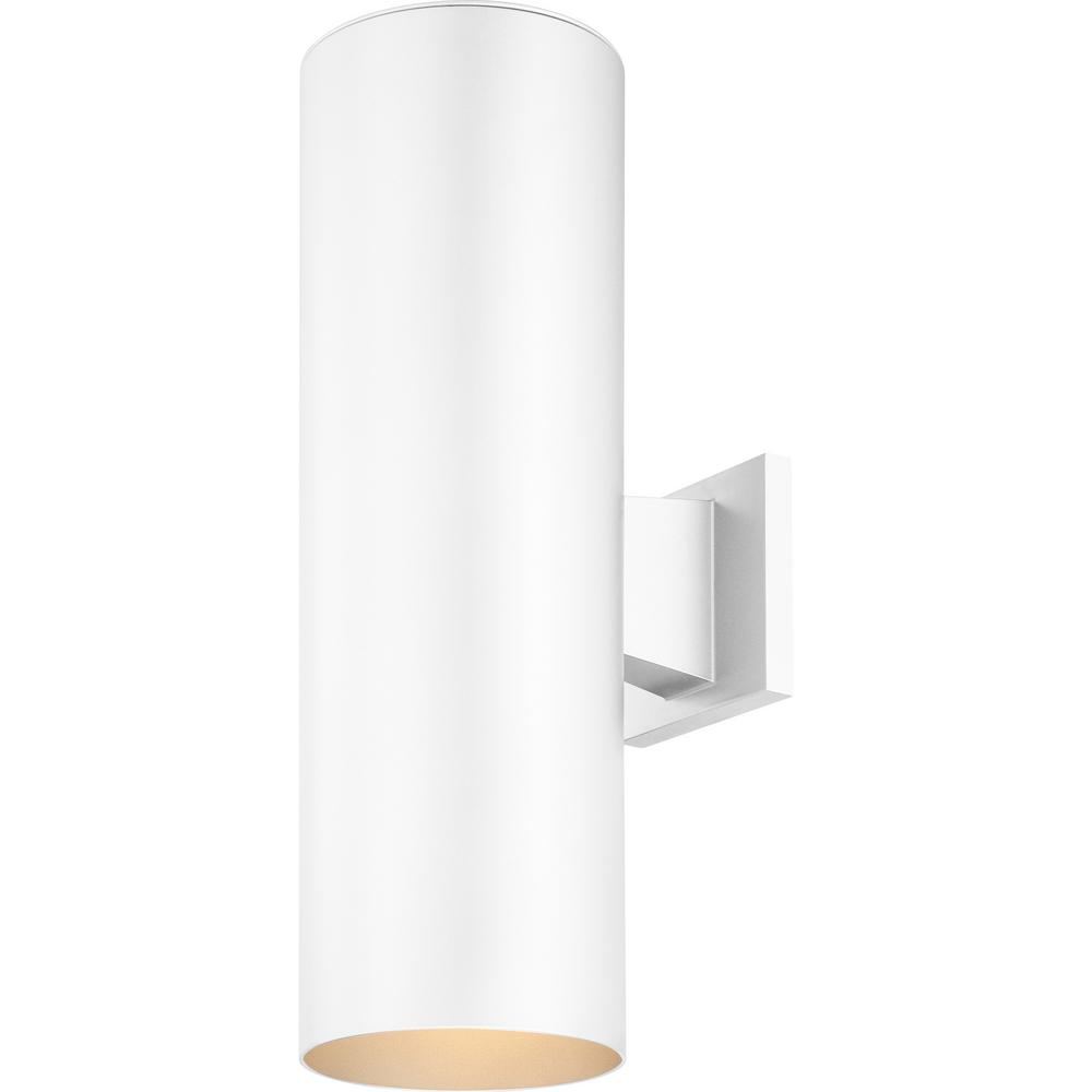 Volume Lighting Large 2 Light White Aluminum Integrated Led Indoor Outdoor Wall Mount Cylinder Sconce