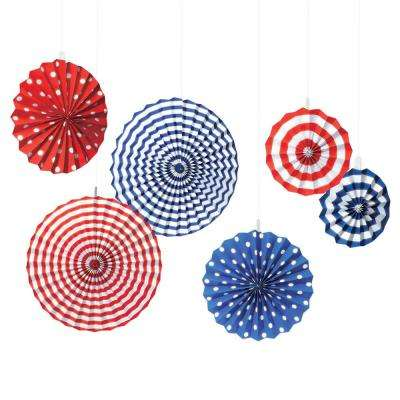 American Fan Decorations (6-Count, 2-Pack)