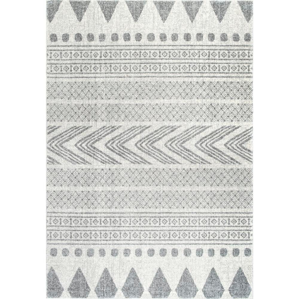 Shaina tribal grey 8 ft x 10 ft area rug