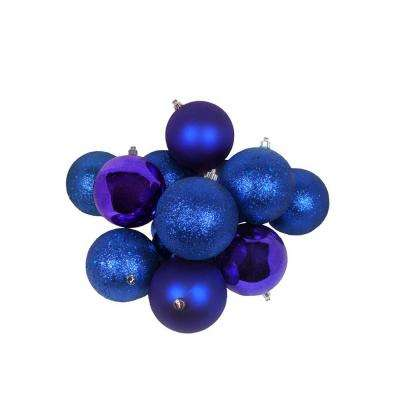 3.25 in. (80 mm) Royal Blue Shatterproof 4-Finish Christmas Ball Ornaments (32-Count)