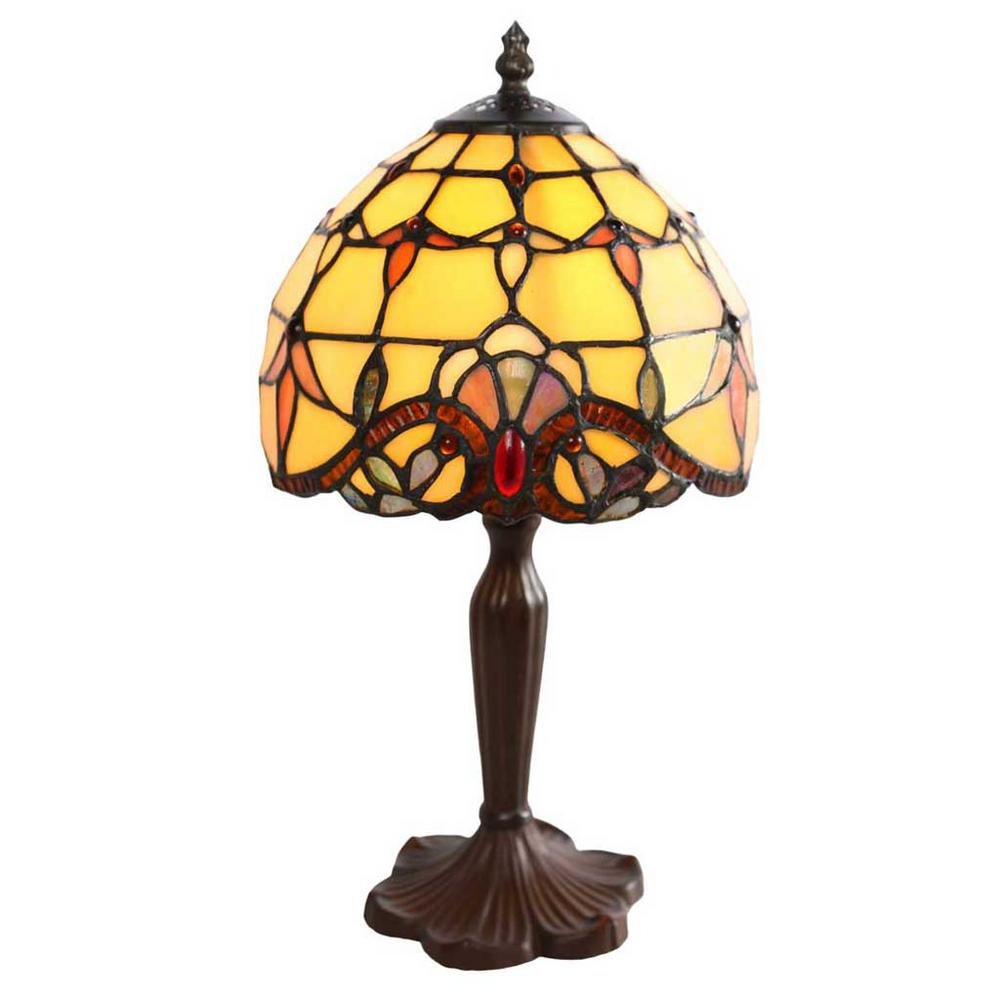 Amber Table Lamp With Stained Glass Allistar Shade