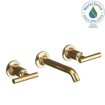 Purist Wall-Mount 2-Handle Water-Saving Bathroom Faucet Trim Kit in Vibrant Modern Polished Gold