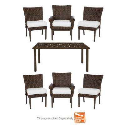 Mill Valley 7-Piece Fully Woven Patio Dining Set with Cushion Insert (Slipcovers Sold Separately)