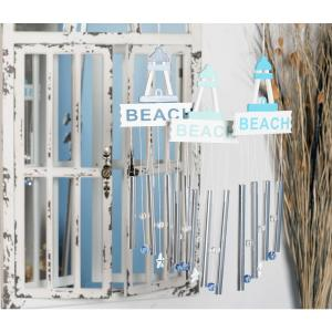 Light Blue, Blue and Dark Blue Aluminum and Wood Beach Wind Chimes (Set of 3) by