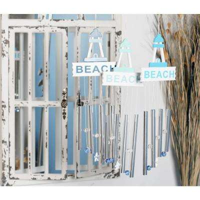 Light Blue, Blue and Dark Blue Aluminum and Wood Beach Wind Chimes (Set of 3)