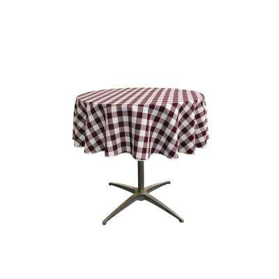 """58 in. White and Burgundy Polyester Gingham Checkered Round Tablecloth"""
