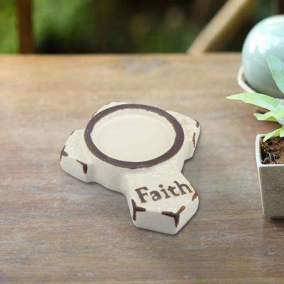Worn White Ceramic Faith Candle Holder