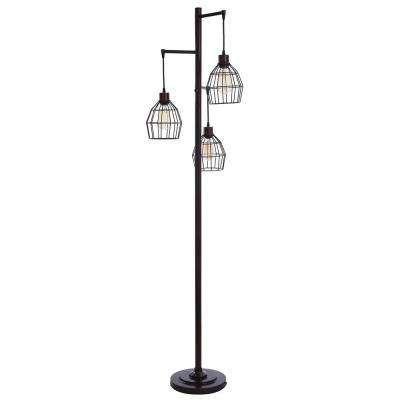 Caged 71.5 in. Black Floor Lamp
