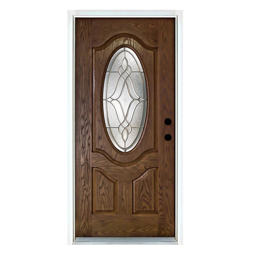 MP Doors 36 in. x 80 in. Distinction Medium Oak Left-Hand Inswing 3/4 Oval Lite Decorative Fiberglass Prehung Front Door