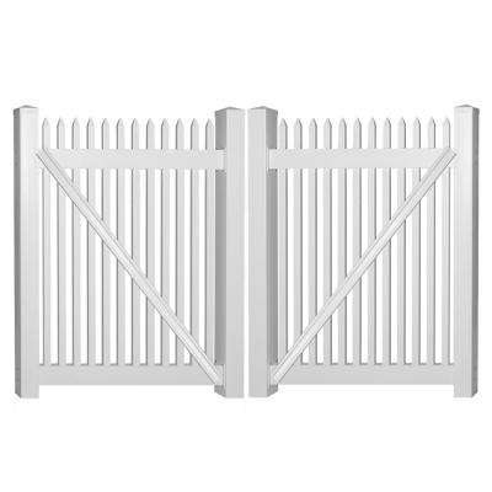 Hartford 8 ft. W x 5 ft. H White Vinyl Picket Fence Double Gate