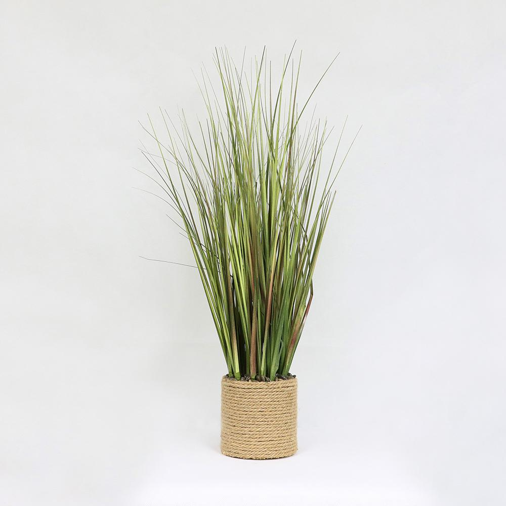 Puleo International 26 in. Indoor Artificial Onion Grass in Rope Accented Pot