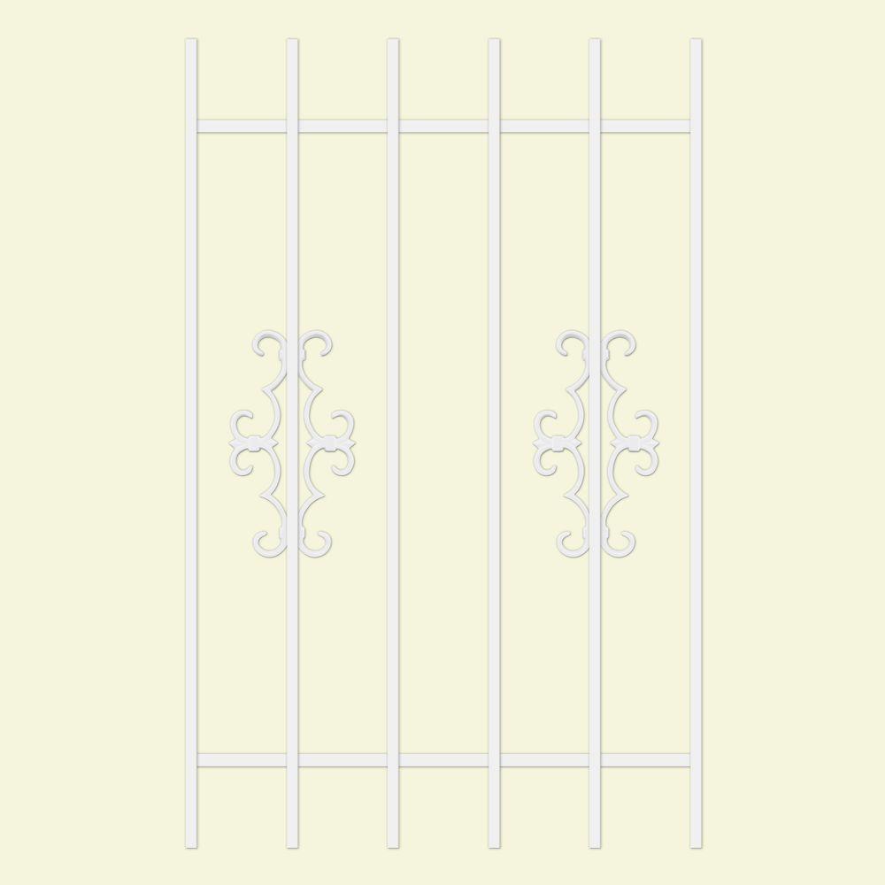 Unique Home Designs Watchman Trio 30 in. x 48 in. White 6-Bar Window Guard-DISCONTINUED