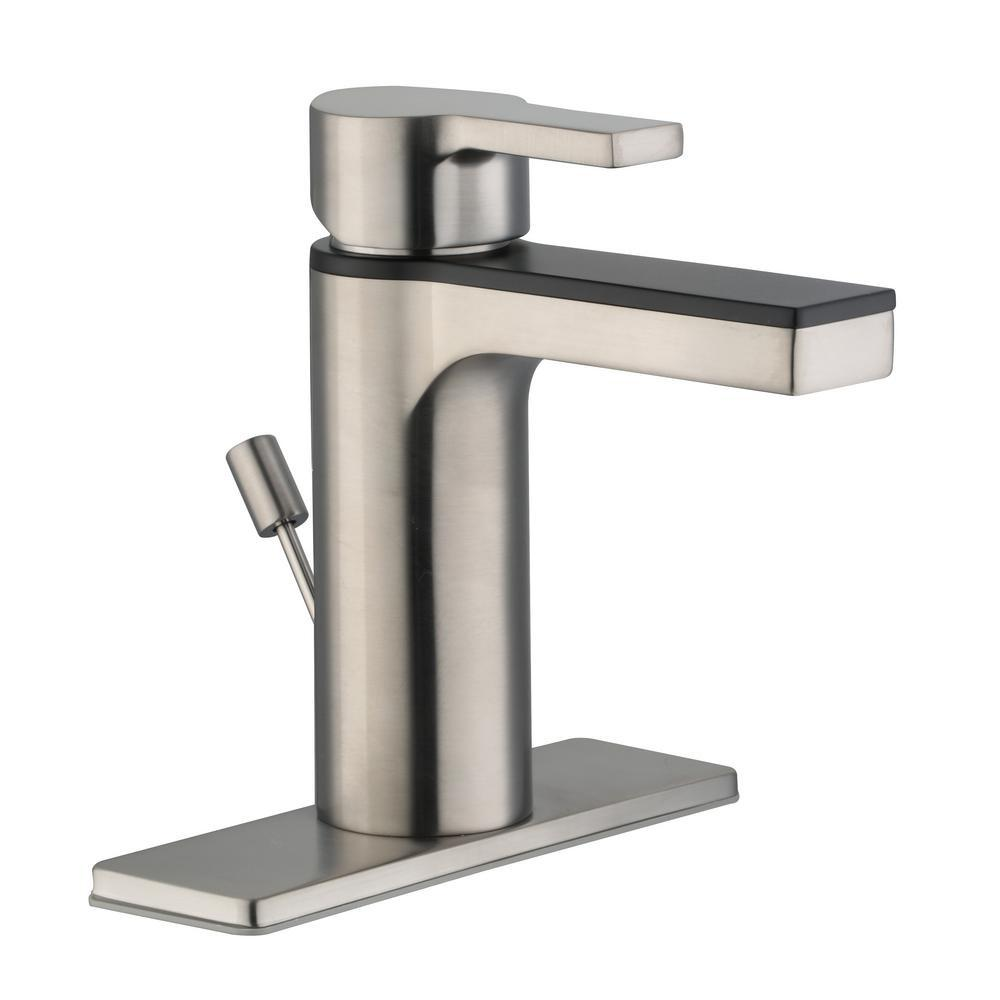 Glacier Bay Modern Contemporary Single Hole Single-Handle Low-Arc Bathroom  Faucet in Dual Finish Brushed Nickel and Matte Black