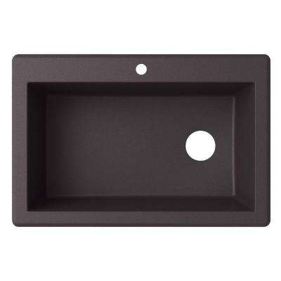 Drop-In/Undermount Granite 33 in. 1-Hole Single Bowl Kitchen Sink in Nero