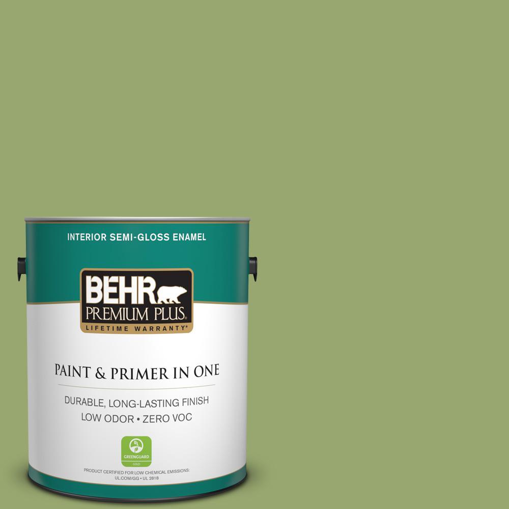 BEHR Premium Plus 1 gal. #MQ4-43 Green Plaza Semi-Gloss Enamel Zero VOC Interior Paint and Primer in One