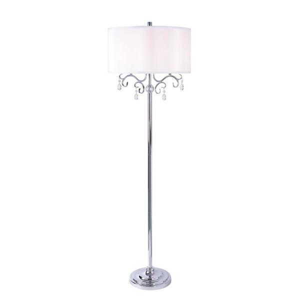 Leif 59.5 in. Chrome Floor Lamp with Drum Shade