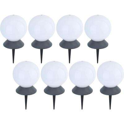 Solar Powered Integrated LED White Floating Pool and Path Light with Base (8-Pack)